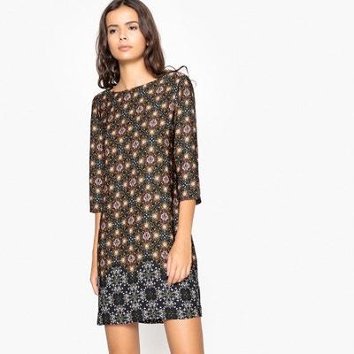 Geometric Print Dress with 3/4 Length Sleeves Geometric Print Dress with 3/4 Length Sleeves La Redoute Collections