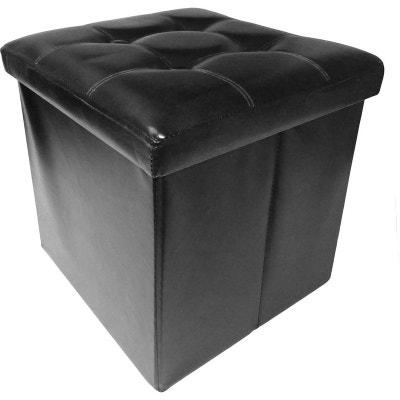 Pouf coffre effet cuir noir couvercle capitonné JARDINDECO
