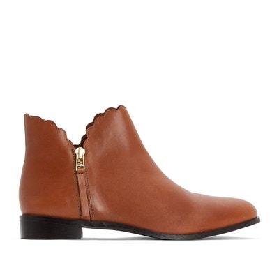 Boots cuir découpe effet dentelle pied large 38-45 Boots cuir découpe effet dentelle pied large 38-45 CASTALUNA