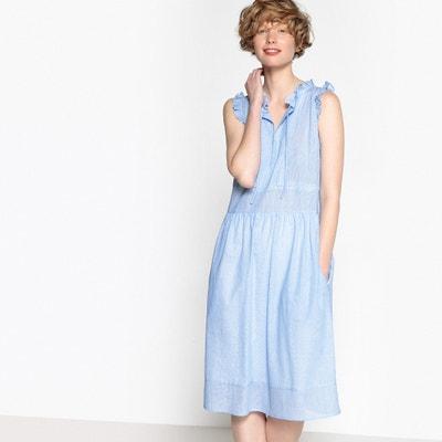 Midi Cotton Shift Dress with Ruffles MADEMOISELLE R