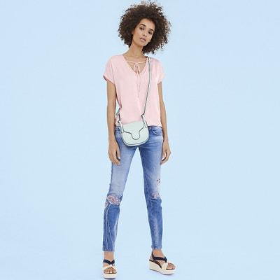 Effen blouse met V-hals en korte mouwen Effen blouse met V-hals en korte mouwen FREEMAN T. PORTER