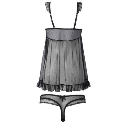 Set aus Nachthemd und String, Plumetis-Tüll Set aus Nachthemd und String, Plumetis-Tüll CASTALUNA