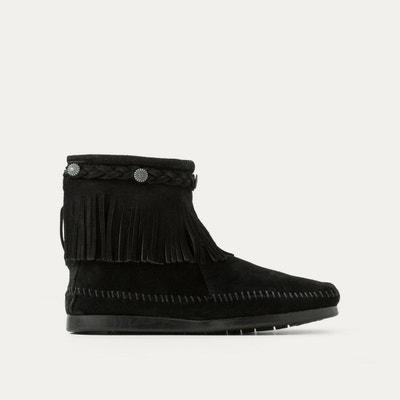 Boots franges avec tresse cheville, cuir suede MINNETONKA