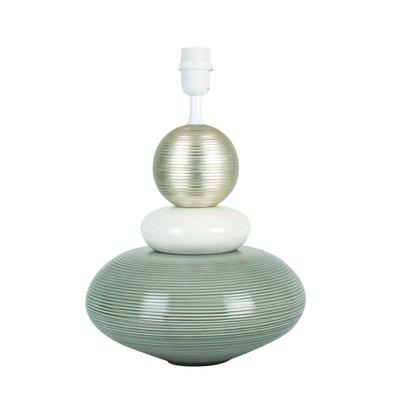 Pied de lampe galet MIAMI gris/blanc/argent en céramique Pied de lampe galet MIAMI gris/blanc/argent en céramique KERIA