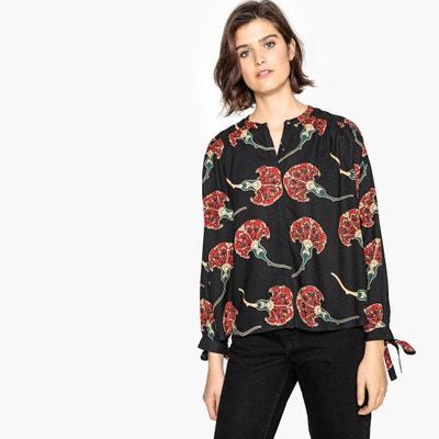 Camisa con cuello redondo estampado de flores, de manga larga Camisa con cuello redondo estampado de flores, de manga larga La Redoute Collections