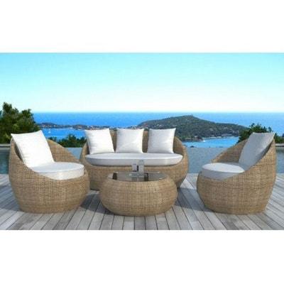 salon de jardin en rsine tresse ronde beige declikdeco - Salon De Jardin Tresse