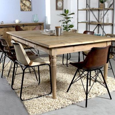 Table à manger carrée bois recyclé 2 allonges  |  LOP1124 MADE IN MEUBLES