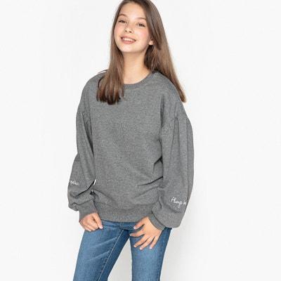 Bluza z marszczonymi rękawami, haft 10-16 lat Bluza z marszczonymi rękawami, haft 10-16 lat La Redoute Collections