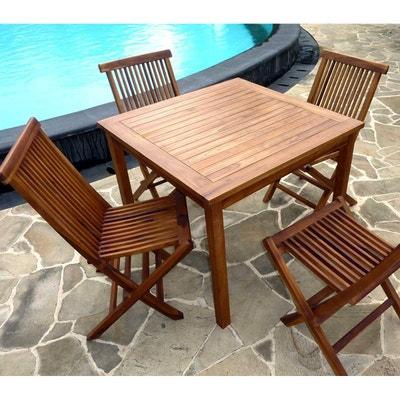 ensemble table en teck carr 90 cm avec 4 chaises de jardin ensemble table en teck - Ensemble Table De Jardin Et Chaises