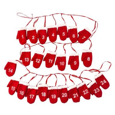 Calendrier de l'Avent Guirlande de Moufles - 180 cm - Rouge ATMOSPHERA