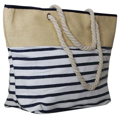 Grand sac de plage rayé bleu CHAPEAU-TENDANCE