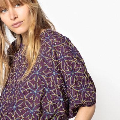 Blusa com bordado inglês, estampado às flores Blusa com bordado inglês, estampado às flores La Redoute Collections