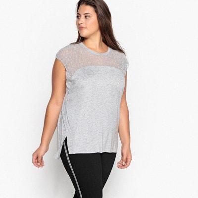 T-shirt scollo rotondo due tessuti, senza maniche T-shirt scollo rotondo due tessuti, senza maniche CASTALUNA