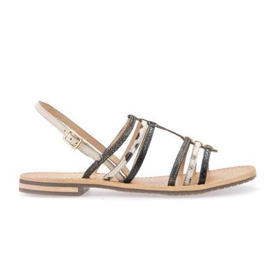 Sosy H Leather Flat Sandals GEOX