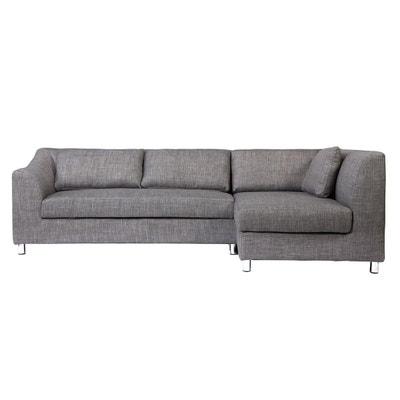 Canapé d'angle convertible en tissu gris MIAMI (angle droit) MILIBOO