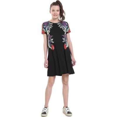Kurzärmeliges Kleid mit Blumenmuster, ausgestellte Schnittform Kurzärmeliges Kleid mit Blumenmuster, ausgestellte Schnittform DESIGUAL