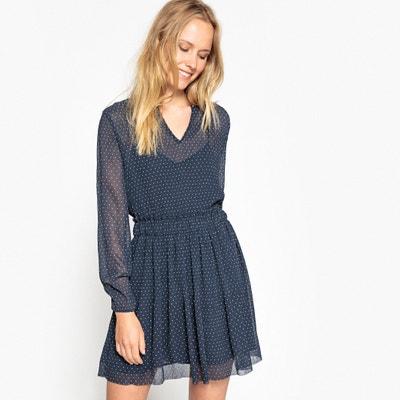 Mesh Style Polka Dot Print Dress PEPE JEANS