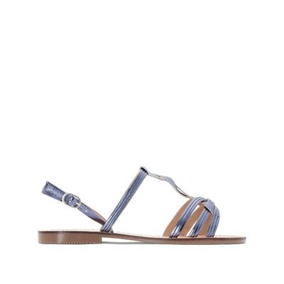 Sandálias em pele metalizada, presilha entrançada La Redoute Collections