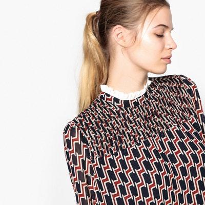Graphic Print Dress with Gathered Neck & Ruffles SUNCOO