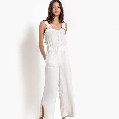 Combi-pantalon coupe large, bretelles nouées Combi-pantalon coupe large, bretelles nouées La Redoute Collections