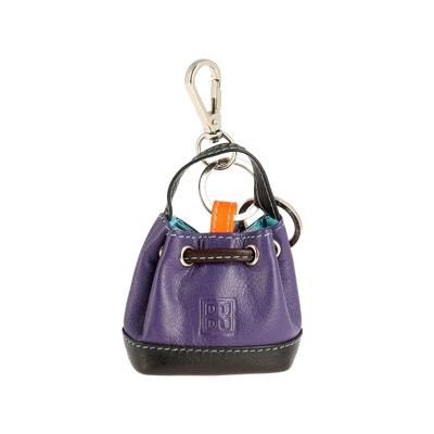 Porte-clés Porte-monnaie à Sac seau en Cuir coloré avec Coulisse 2 anneaux et Crochet pour les clés DUDU