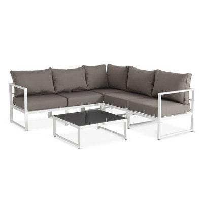 Salon de jardin 5 places Stratum en aluminium, structure Blanche et  coussins taupe, design 50961e4bd5b5