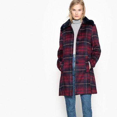 Manteau à carreaux et col imitation fourrure Manteau à carreaux et col imitation fourrure MADEMOISELLE R