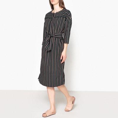 Dalida Loose Fit Striped Tunic Dress with Jellabah Neckline SOEUR