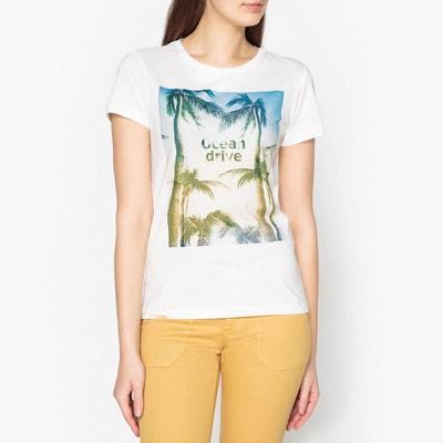 T shirt col rond, manches courtes sérigraphié IKKS