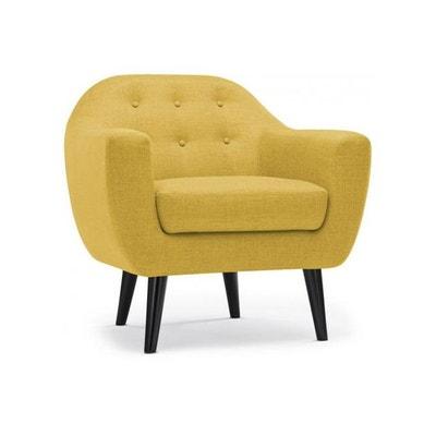 fauteuil scandinave tissu jaune fidelio declikdeco - Fauteuil Jaune Scandinave