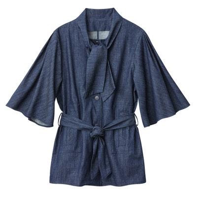 Safari-Jacke, lange Form, Gürtel, leichter Jeansstoff Safari-Jacke, lange Form, Gürtel, leichter Jeansstoff La Redoute Collections