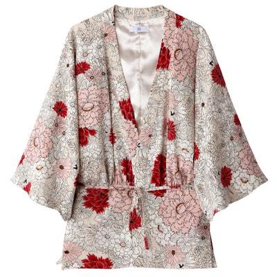 Kimono court imprimé fleurs Kimono court imprimé fleurs La Redoute Collections