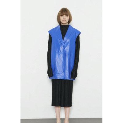 Veste milongue en cuir bleu sans manches ARISTOTE Veste milongue en cuir bleu sans manches ARISTOTE FETE IMPERIALE