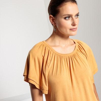 T-shirt com gola redonda, mangas curtas fantasia T-shirt com gola redonda, mangas curtas fantasia ANNE WEYBURN