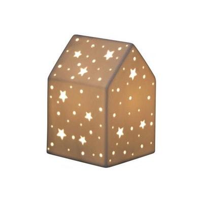 Lampe A Poser Maison Motifs Etoiles En Porcelaine H19 CASALIGHT DECLIKDECO