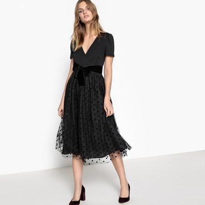 Polka Dot Velour Belt Wrapover Dress MADEMOISELLE R