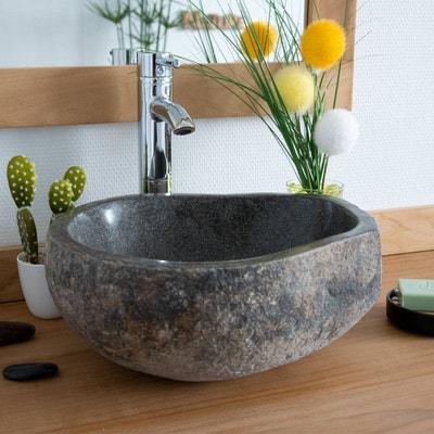 Vasque de salle de bain à poser en pierre de rivière ø 40 cm - Eden d54cb1aeeadf