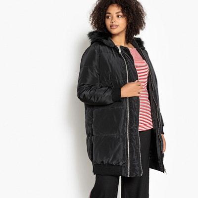 Куртка стеганая длинная на молнии с капюшоном для зимы Куртка стеганая длинная на молнии с капюшоном для зимы CASTALUNA