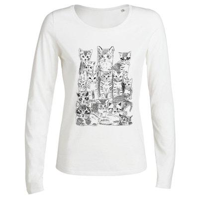 Tshirt Imprimé Bio Blanc ML Femme Chatons ARTECITA 0a0b729e69da