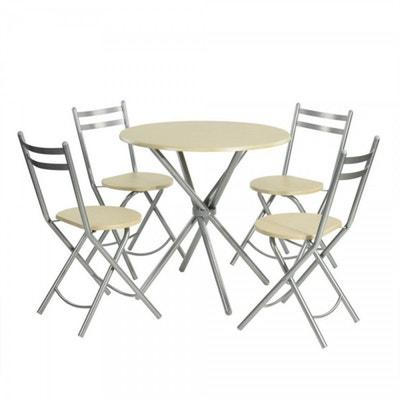 Ensemble Table Et 4 Chaises Pliantes Design Scandinave Beige Mtal