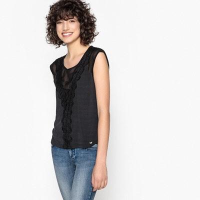 T-shirt met ronde hals met borduursel en transparantie LPB WOMAN