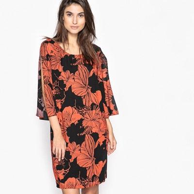 Bedrucktes Kleid mit 3/4-Ärmeln und gerader Form Bedrucktes Kleid mit 3/4-Ärmeln und gerader Form ANNE WEYBURN