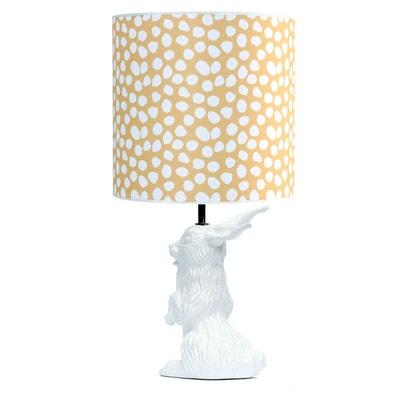 JEANNOT LAPIN - Lampe à poser Céramique Blanc et abat-jour Tissu Pois H60cm DOMESTIC