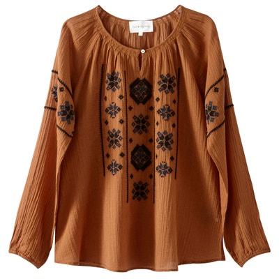 Unifarbene Bluse mit 3/4-Ärmeln und Rundhalsausschnitt Unifarbene Bluse mit 3/4-Ärmeln und Rundhalsausschnitt SUD EXPRESS