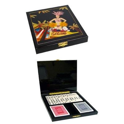 Coffret Prestige bois laqué, 28 dominos + 2 jeux cartes Poker HOBBY