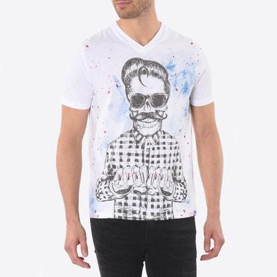 Tee shirt  col v manches courtes imprimé devant KAPORAL