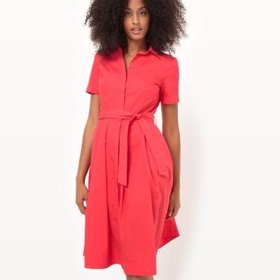 Cotton Tie Waist Shirt Dress La Redoute Collections