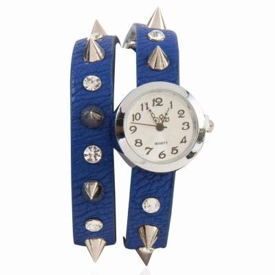 Montre bracelet avec double bracelet en similicuir de couleur bleue orné de strass et de picots Montre bracelet avec double bracelet en similicuir de couleur bleue orné de strass et de picots EXOTIC EXPRESS