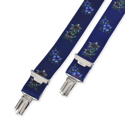 Bretelles Edelweiss et campanule fond bleu - 2,5 cm DANDYTOUCH