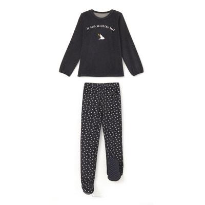 Fluwelen pyjama met voetjes 2-12 jr La Redoute Collections